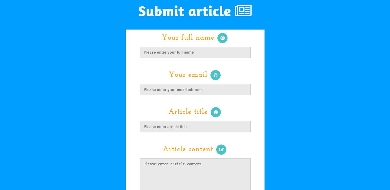 PHP & JQuery submit article form Screenshot 1