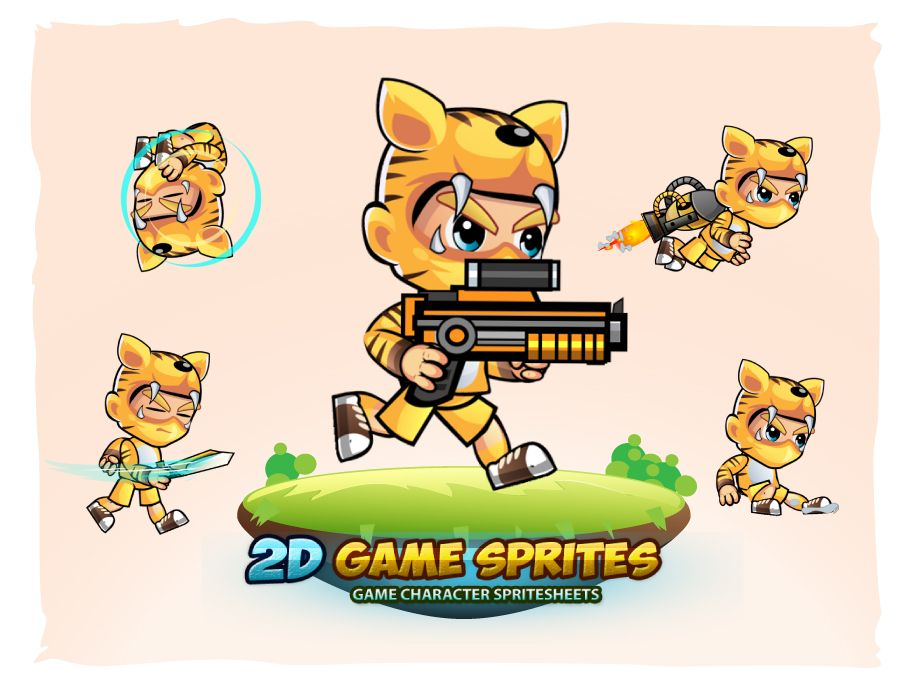 Tiger Boy 2D Game Sprites Screenshot 1