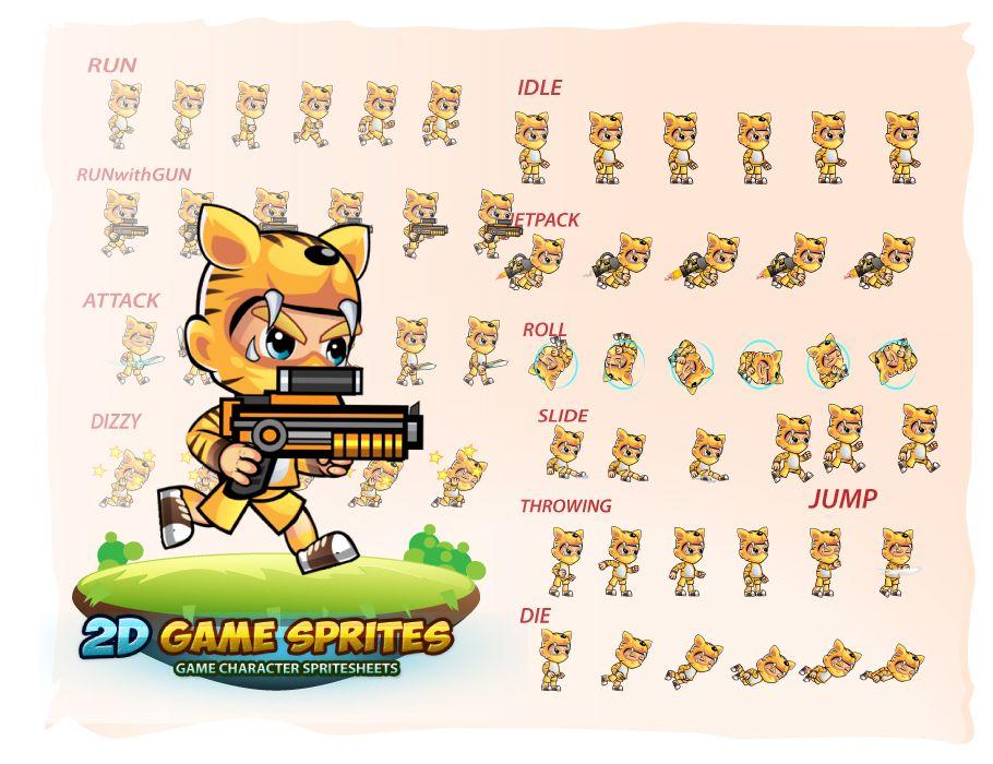 Tiger Boy 2D Game Sprites Screenshot 2