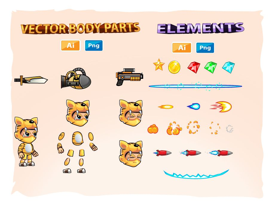 Tiger Boy 2D Game Sprites Screenshot 3