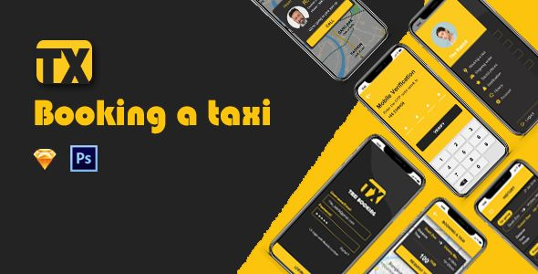 TX - Taxi Booking UI Kit PSD Screenshot 1