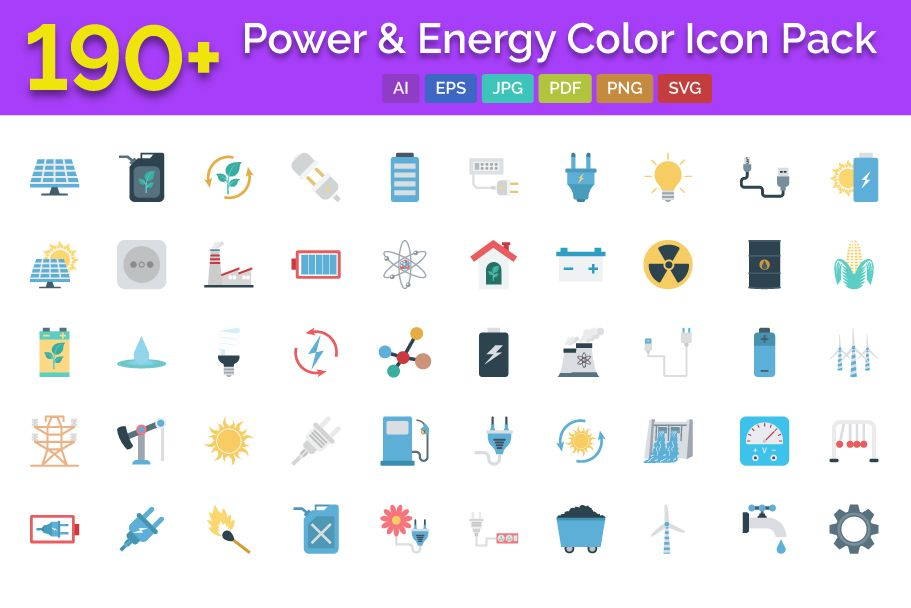 190 Power and Energy Color Vector Icon Pack Screenshot 1