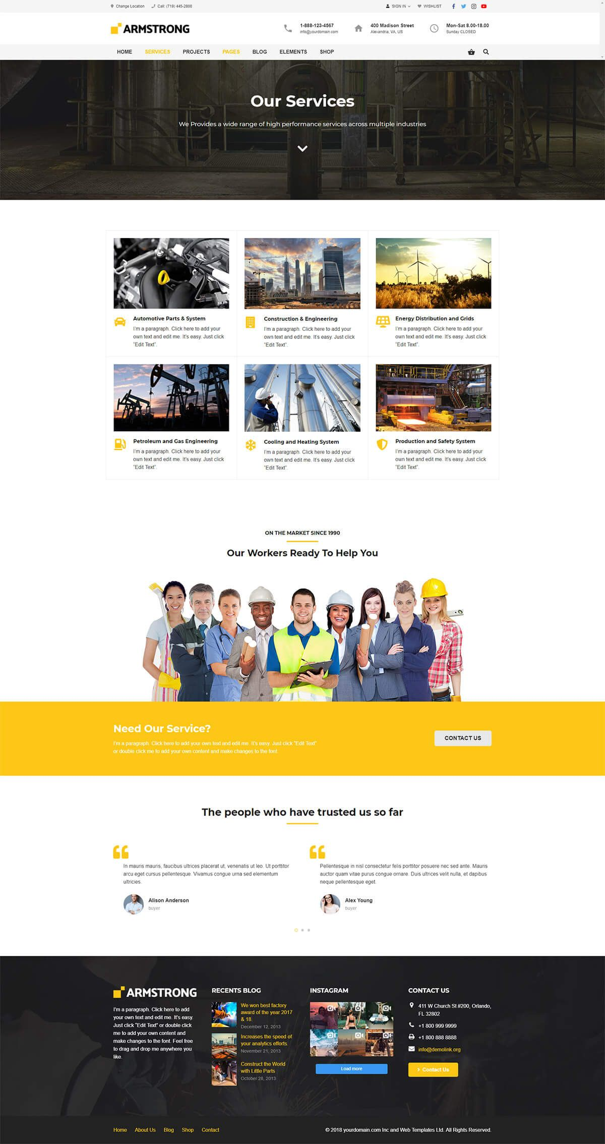 ArmStrong - Factory Industrial WordPress Theme Screenshot 2