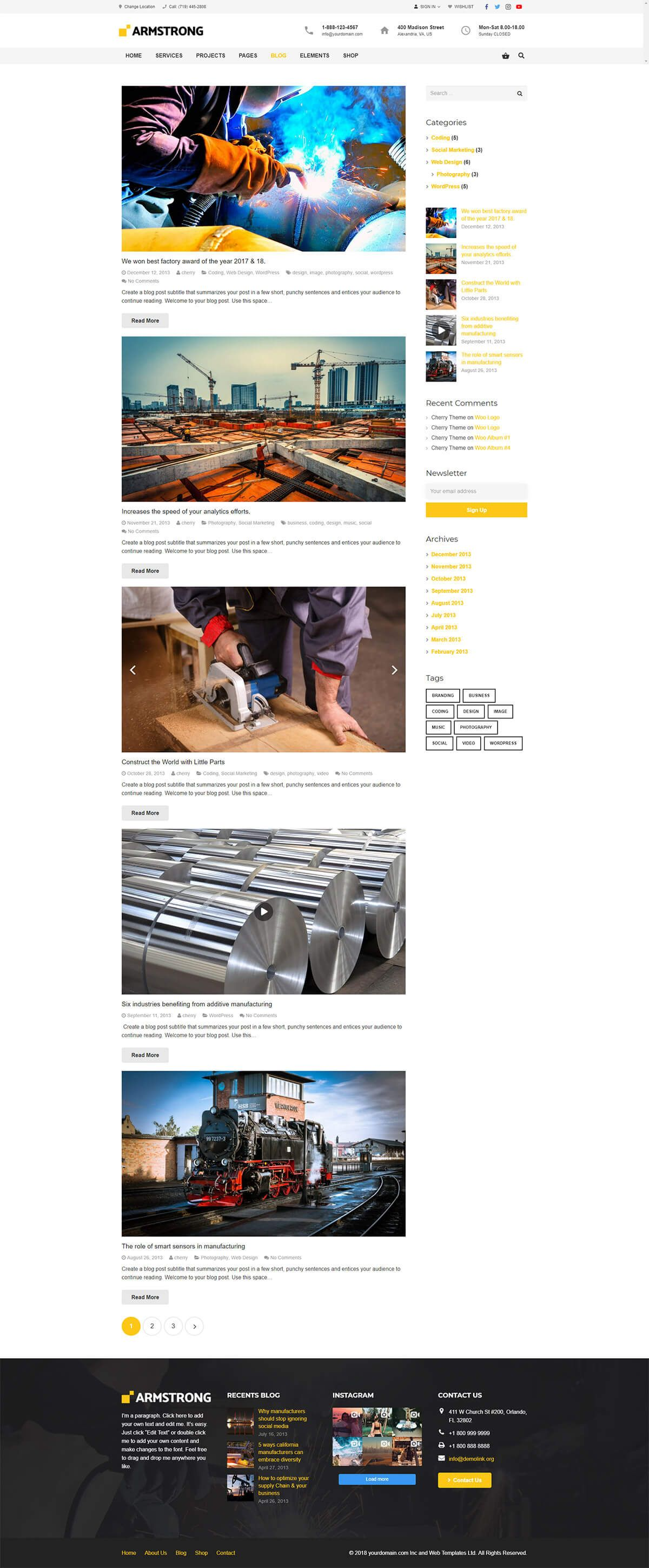 ArmStrong - Factory Industrial WordPress Theme Screenshot 8