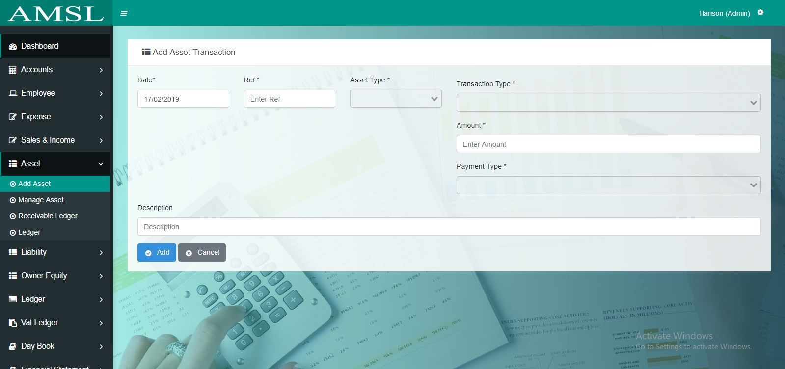 AMSL - Service Based Accounting Management System  Screenshot 1
