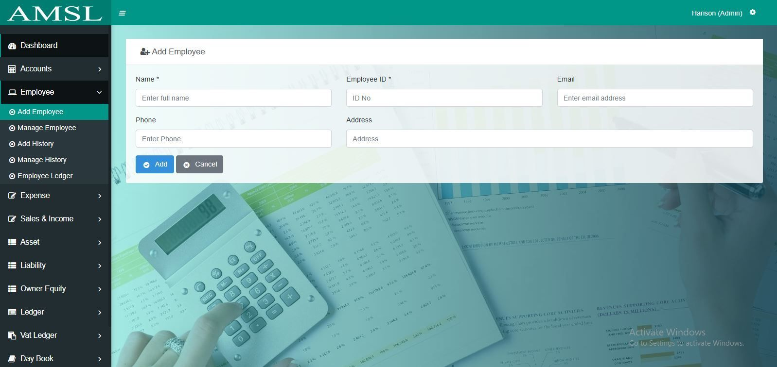 AMSL - Service Based Accounting Management System  Screenshot 2