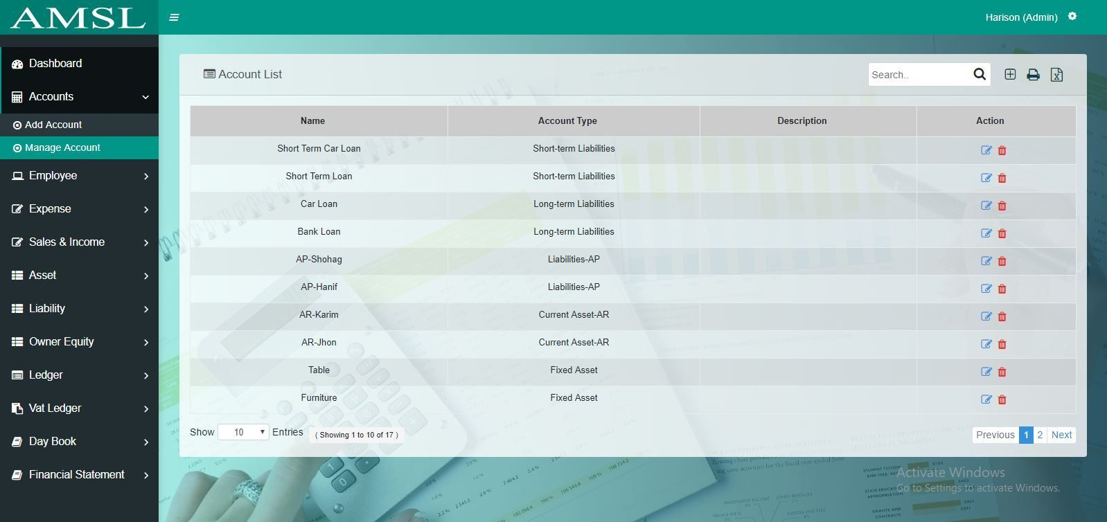 AMSL - Service Based Accounting Management System  Screenshot 12