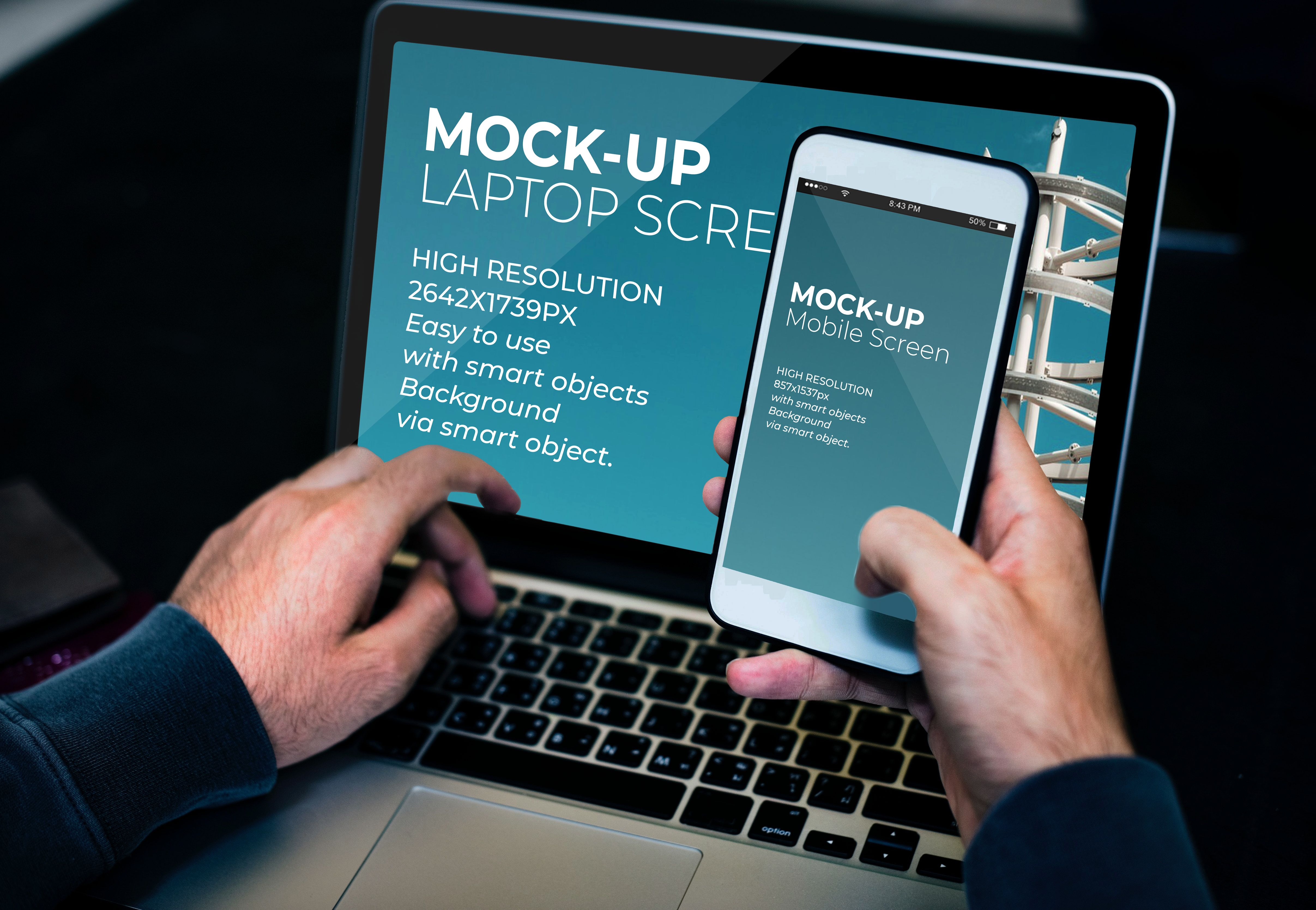 Laptop And Mobile Screen MockUp - PSD Template  Screenshot 1