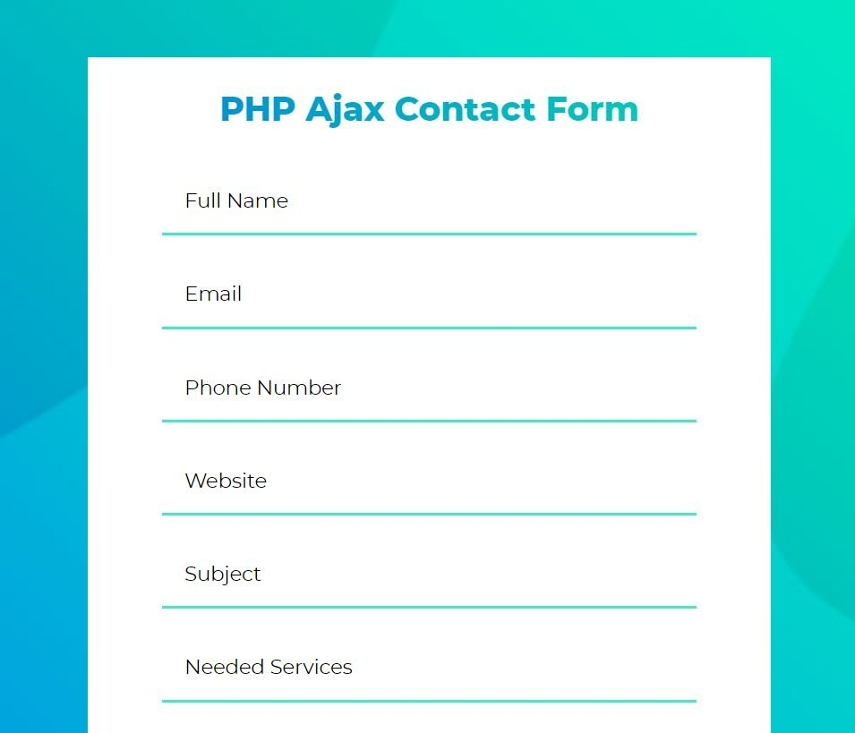 PHP7 HTML5 Ajax Contact Form  Screenshot 1