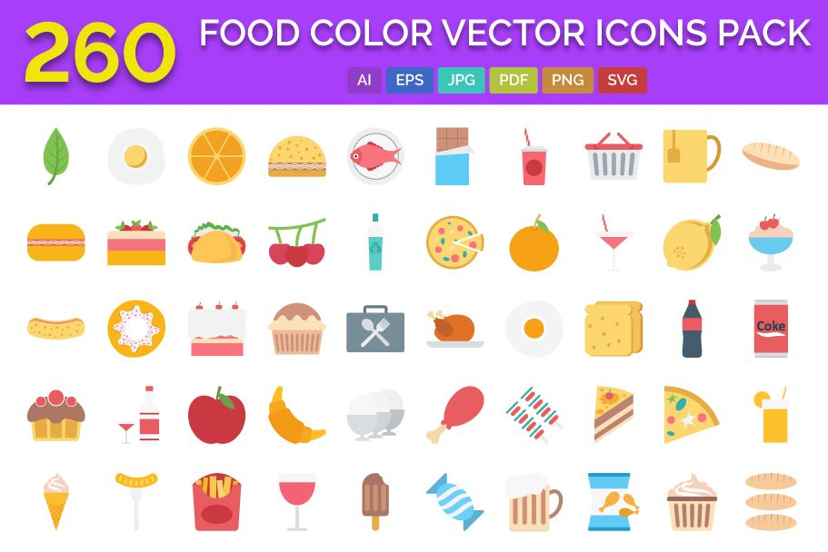 260 Food Color Vector Icons Pack Screenshot 1