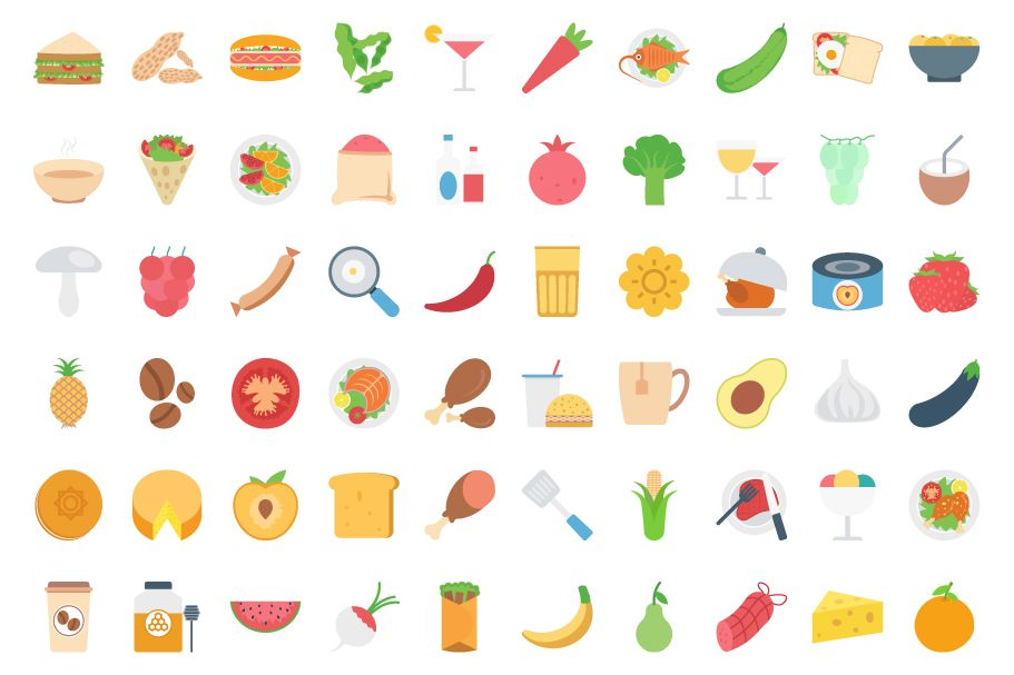 260 Food Color Vector Icons Pack Screenshot 2