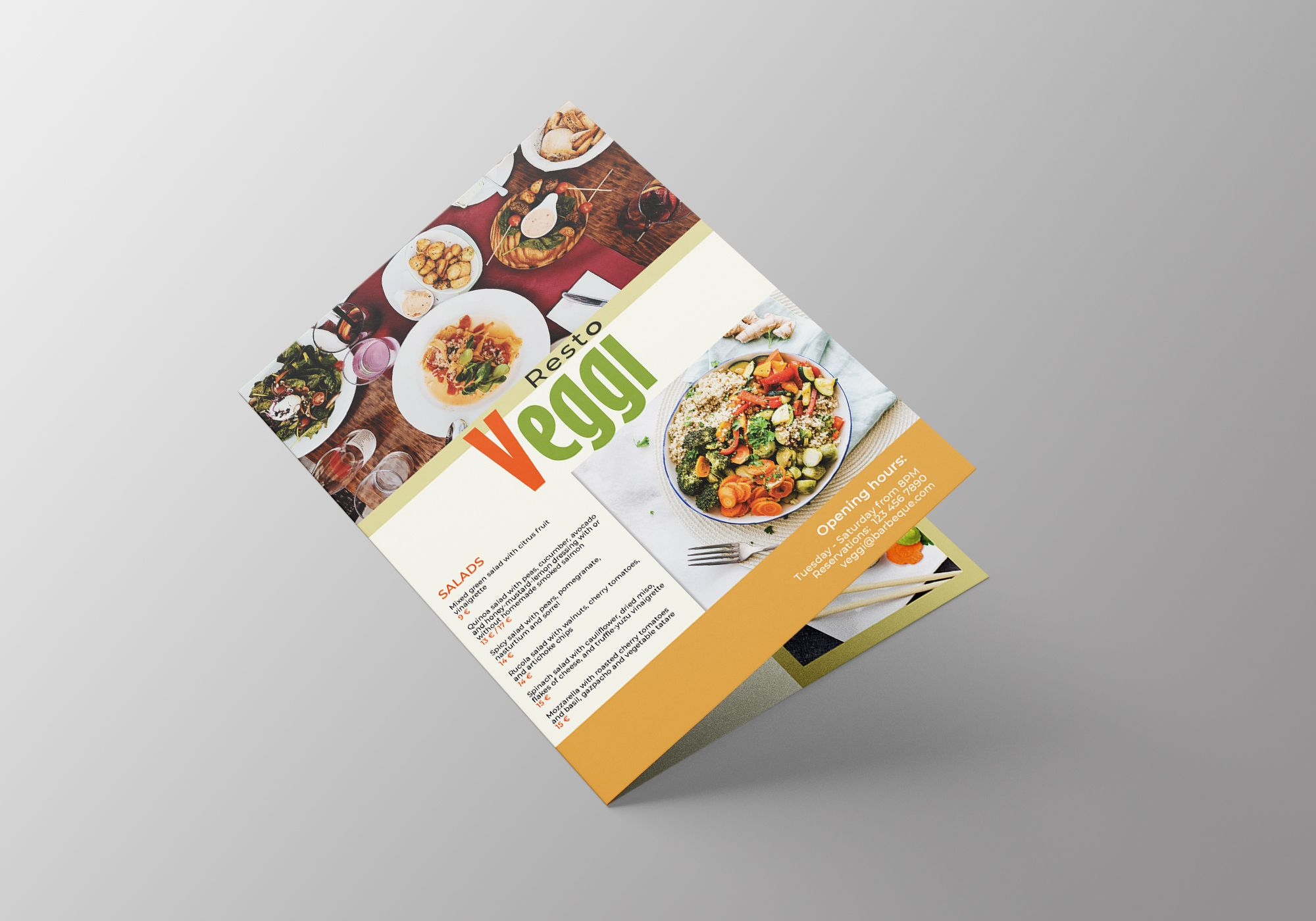 Vegan Menu Bifold Brochure A3 - 2 Templates Screenshot 1