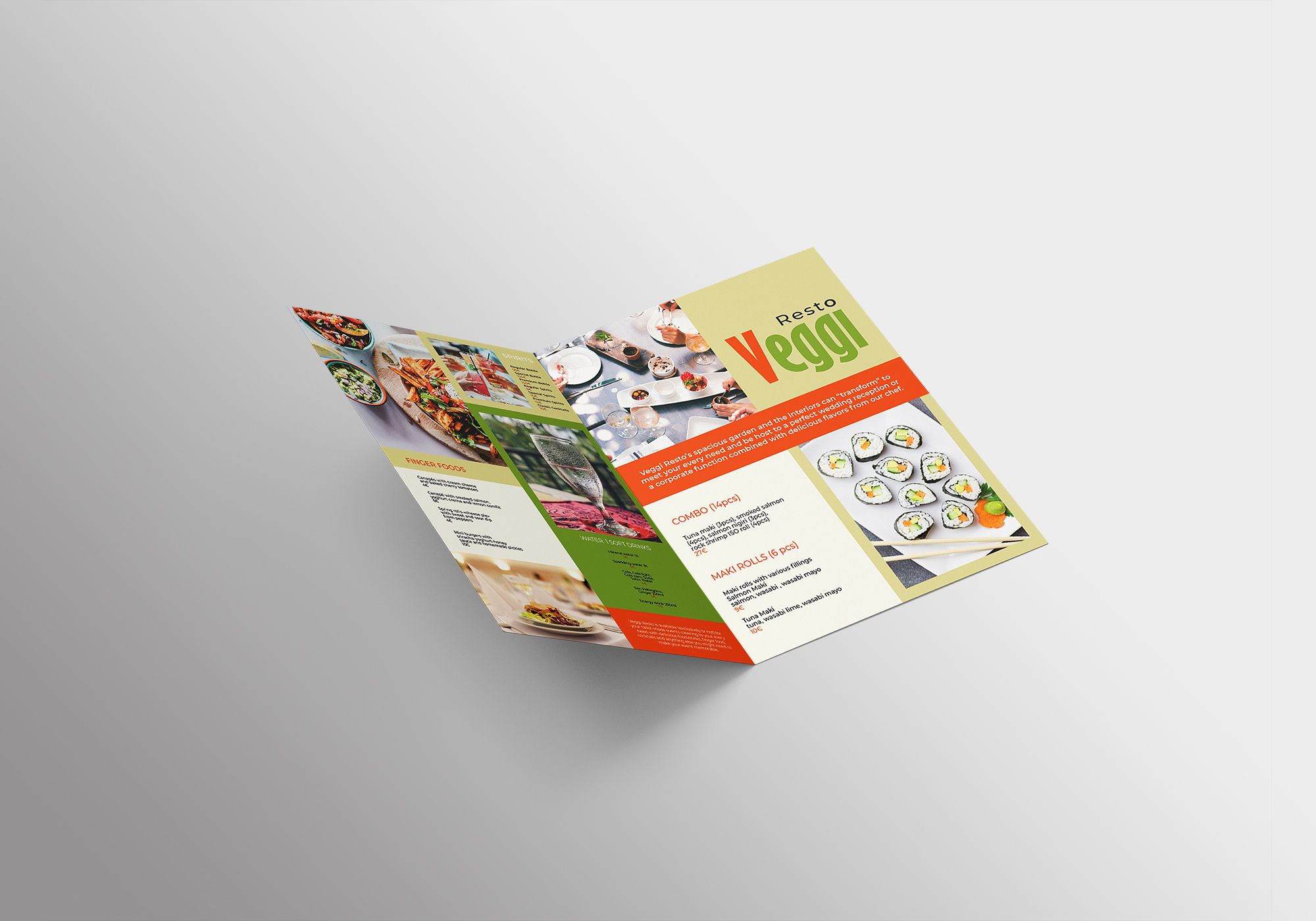 Vegan Menu Bifold Brochure A3 - 2 Templates Screenshot 2