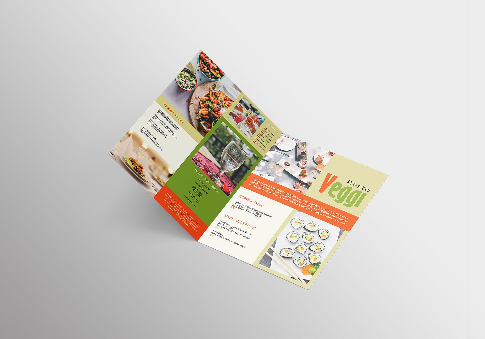 Vegan Menu Bifold Brochure A3 - 2 Templates Screenshot 3