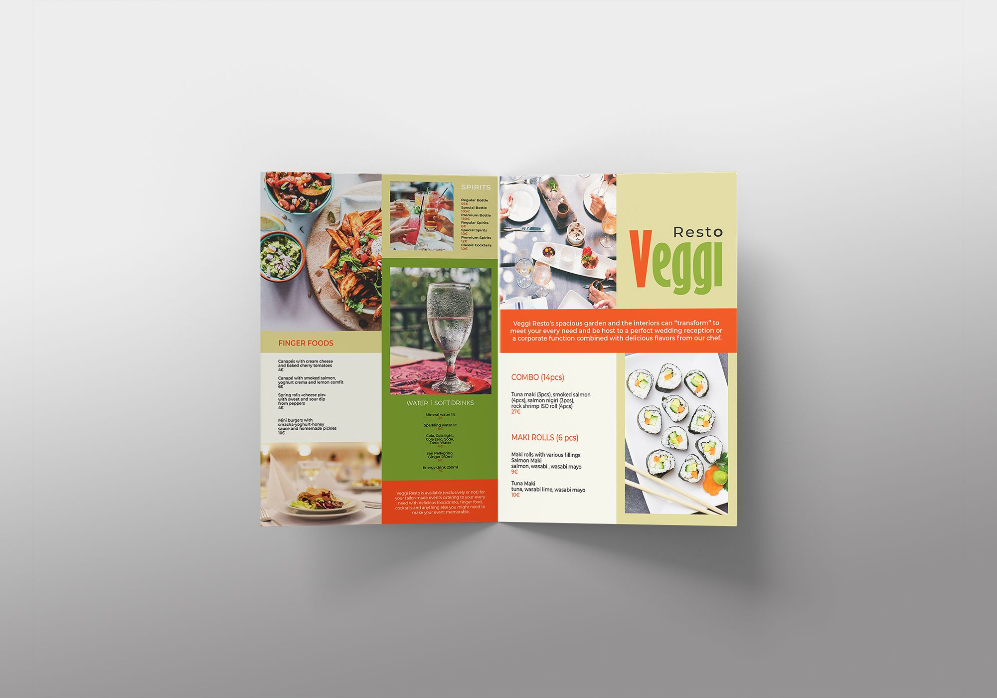 Vegan Menu Bifold Brochure A3 - 2 Templates Screenshot 4