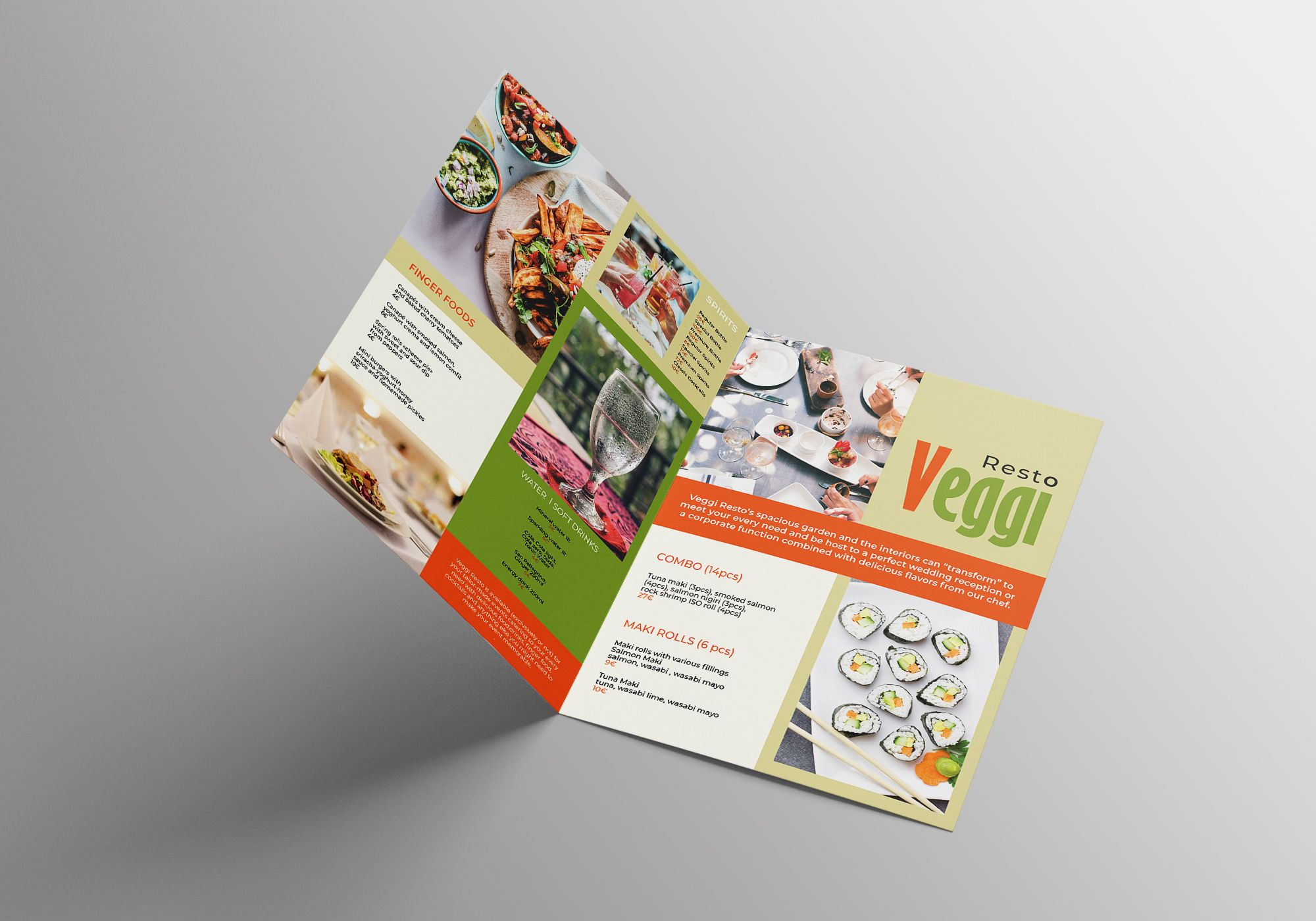 Vegan Menu Bifold Brochure A3 - 2 Templates Screenshot 5