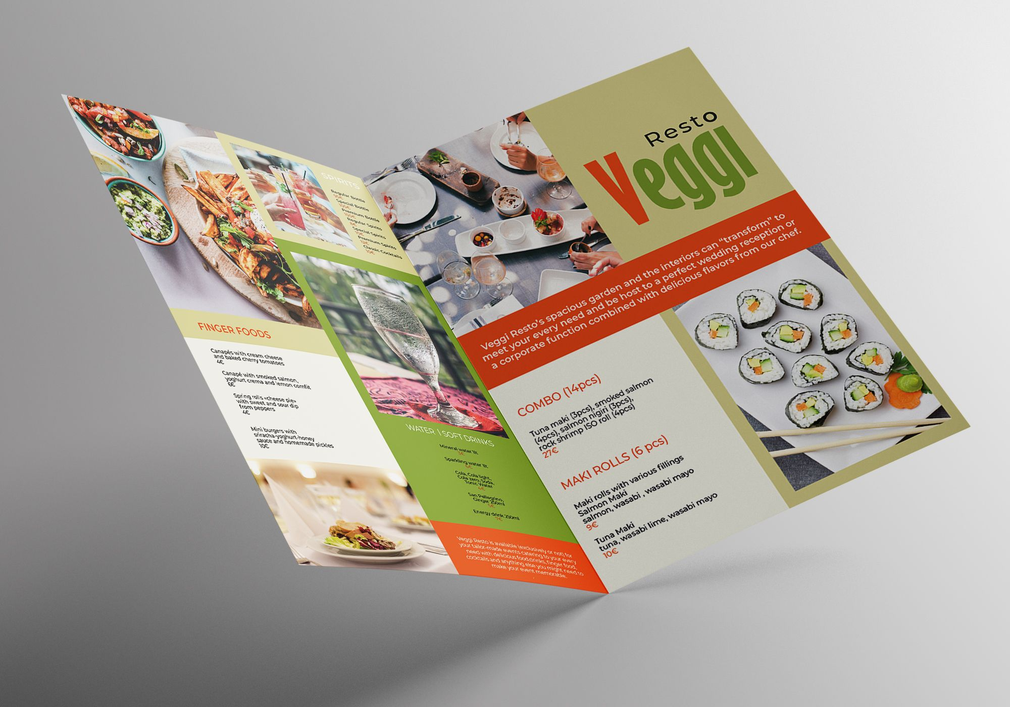 Vegan Menu Bifold Brochure A3 - 2 Templates Screenshot 6