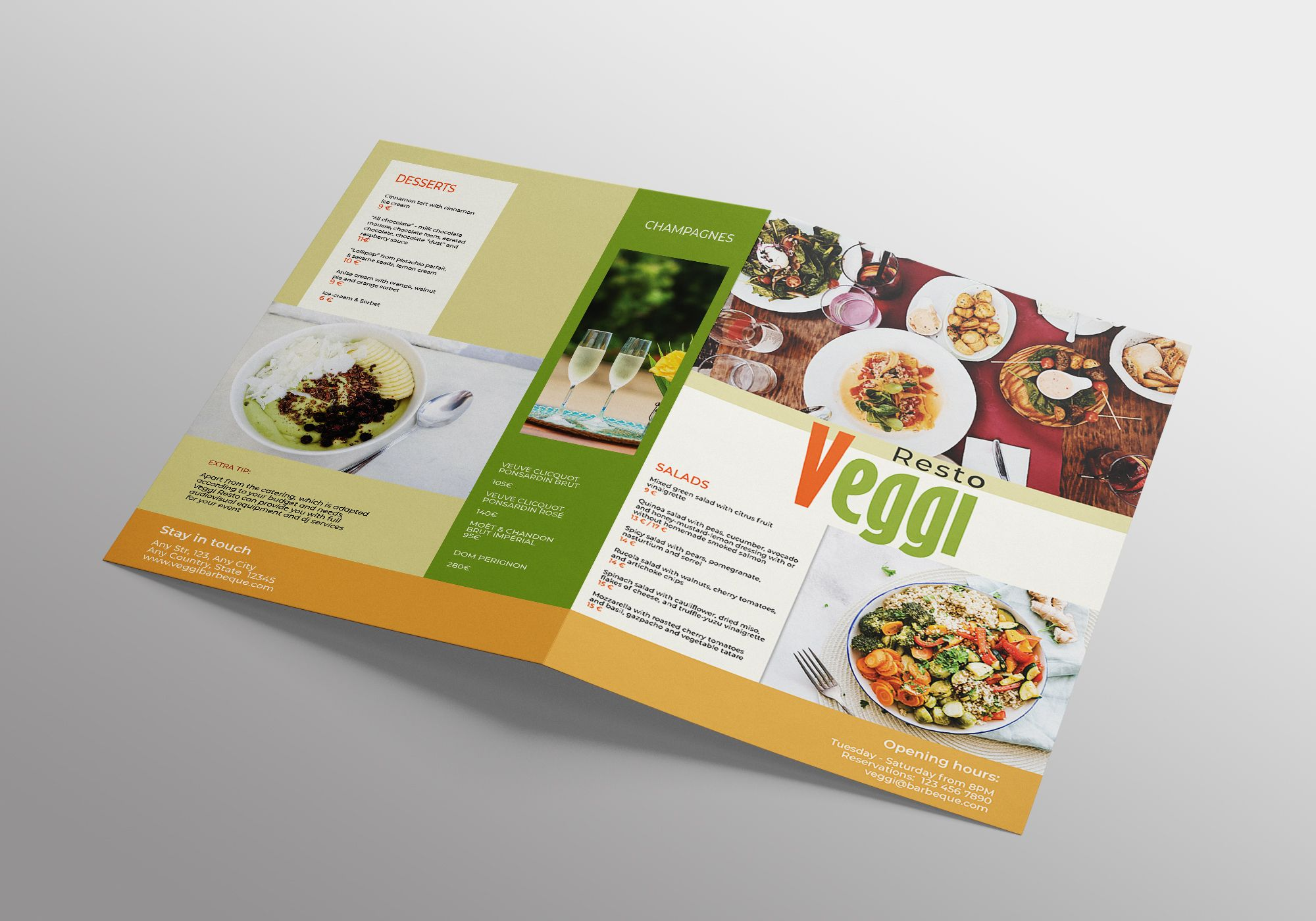 Vegan Menu Bifold Brochure A3 - 2 Templates Screenshot 7