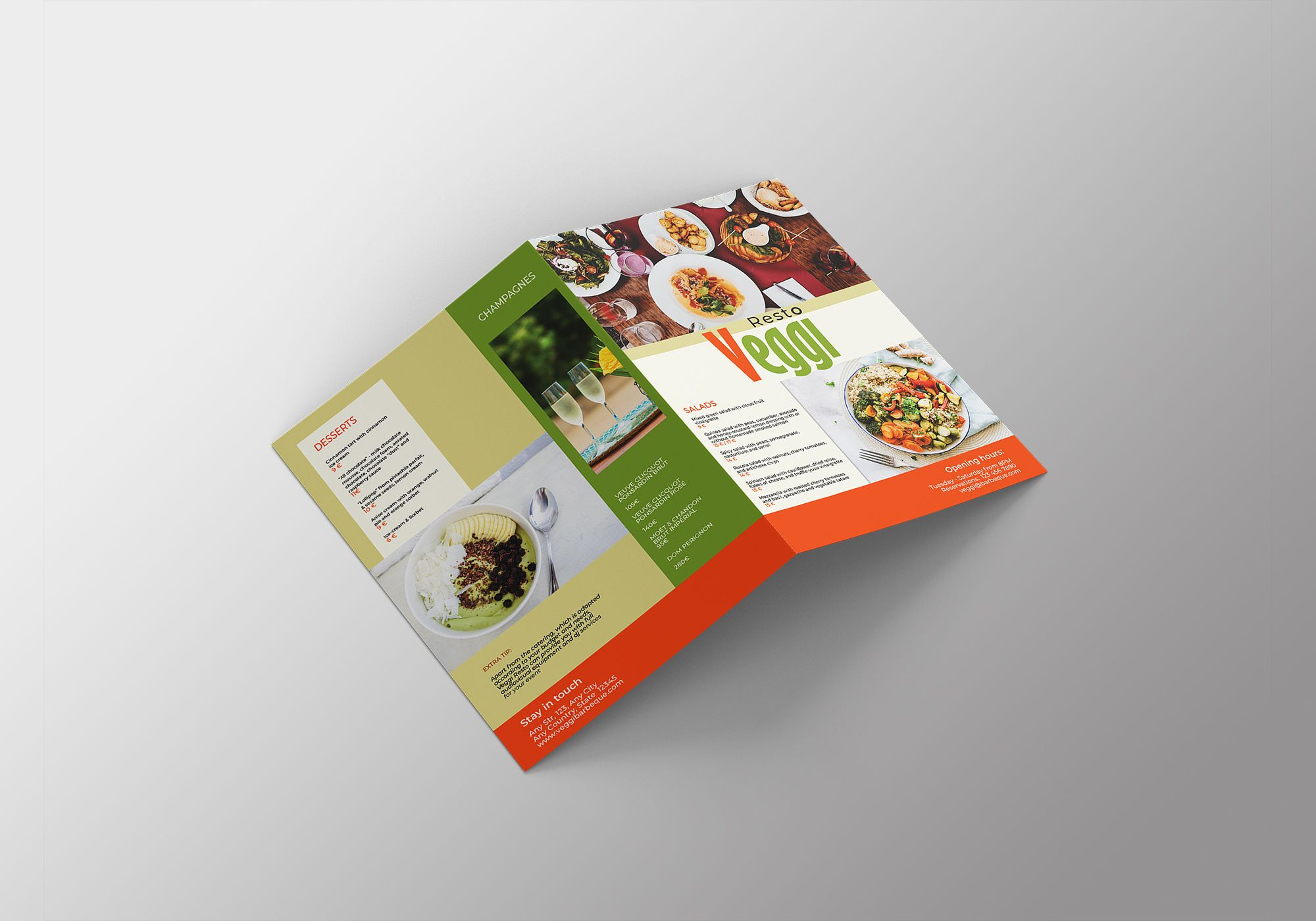 Vegan Menu Bifold Brochure A3 - 2 Templates Screenshot 8