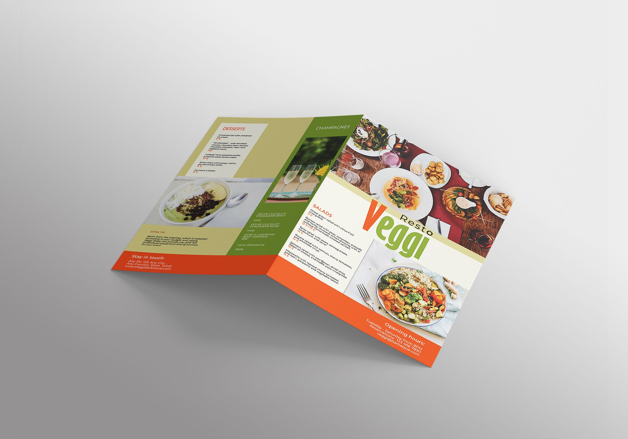 Vegan Menu Bifold Brochure A3 - 2 Templates Screenshot 9