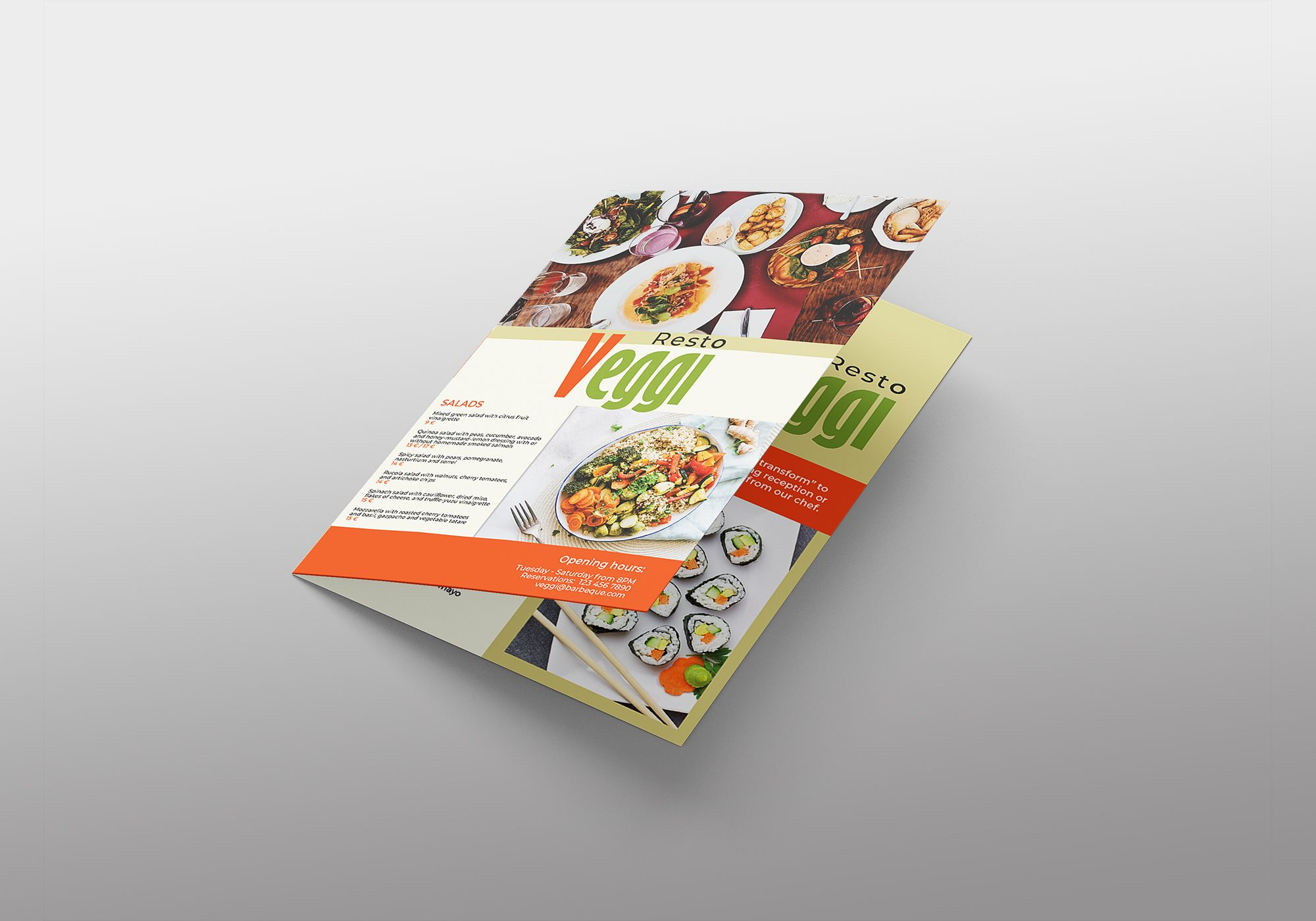 Vegan Menu Bifold Brochure A3 - 2 Templates Screenshot 12