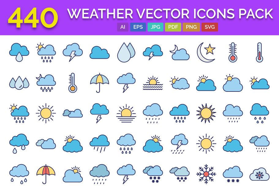 440 Weather Vector Icons Pack  Screenshot 1