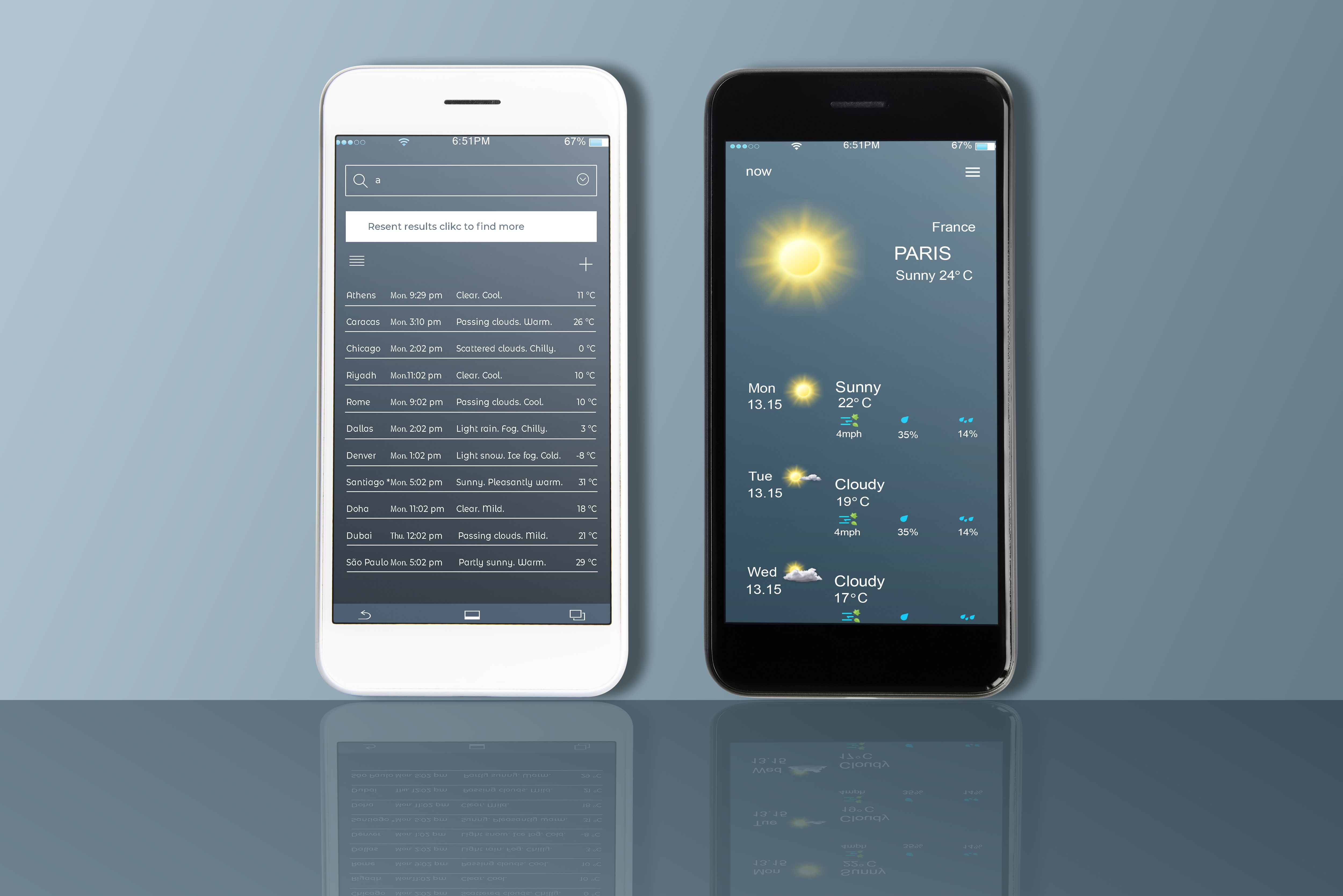 Mobile UI Kit Weather App - 6 PSD Templates  Screenshot 1