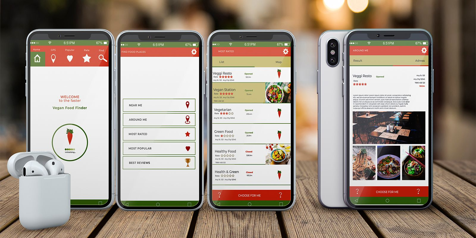Mobile Vegan Food Finder App - 6  PSD Templates  Screenshot 1