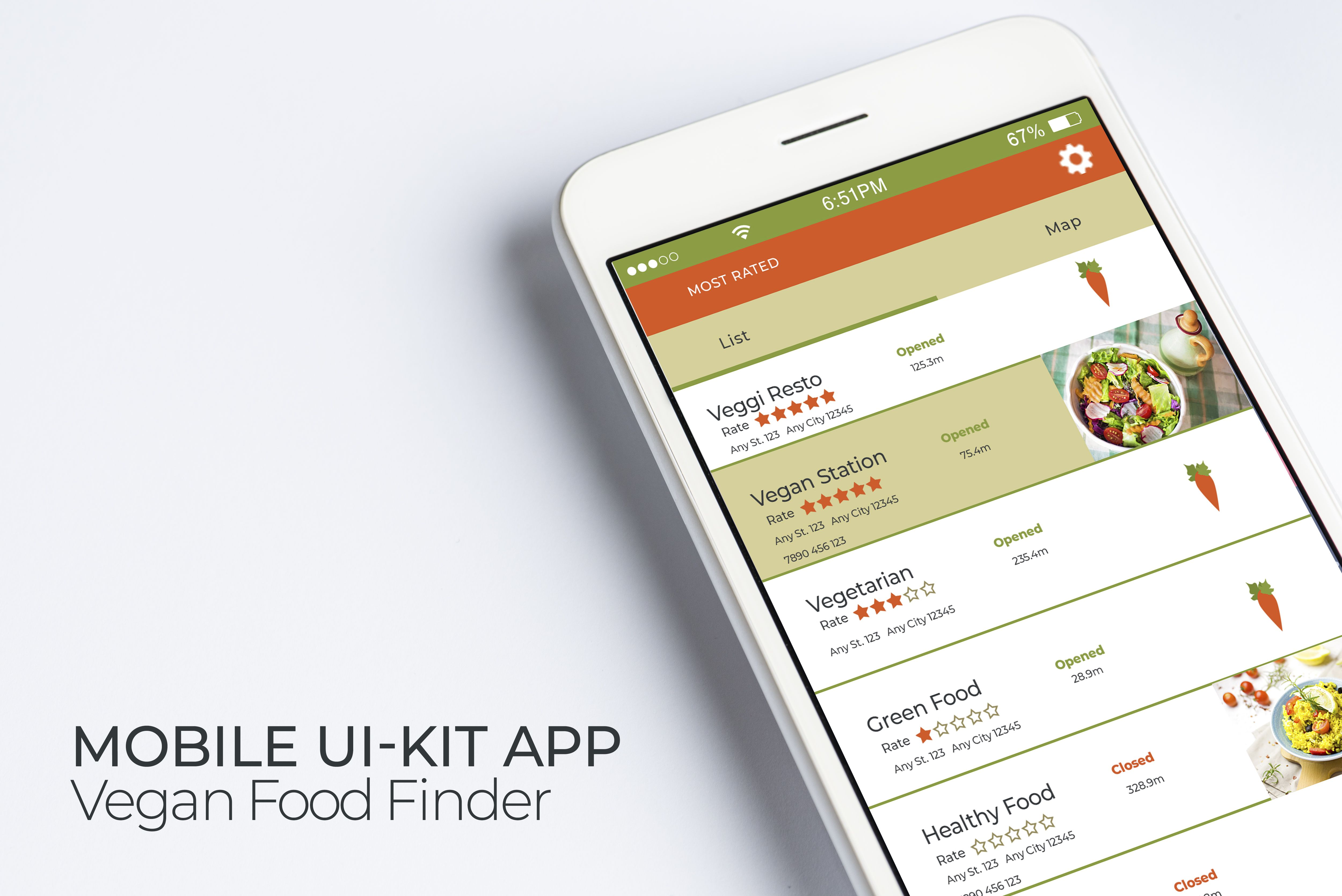 Mobile Vegan Food Finder App - 6  PSD Templates  Screenshot 9