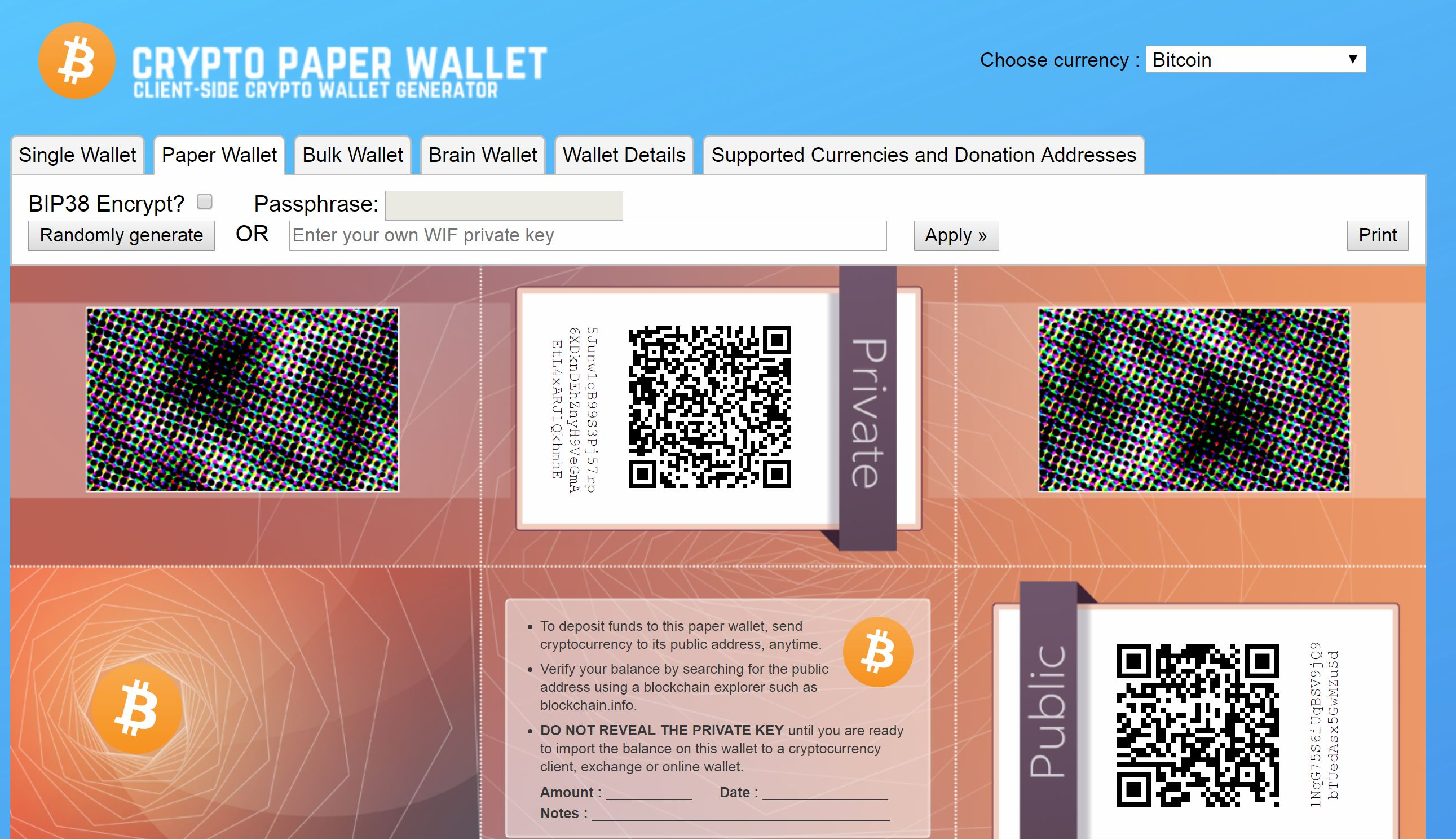 Which cryptocurrencies use paper wallets