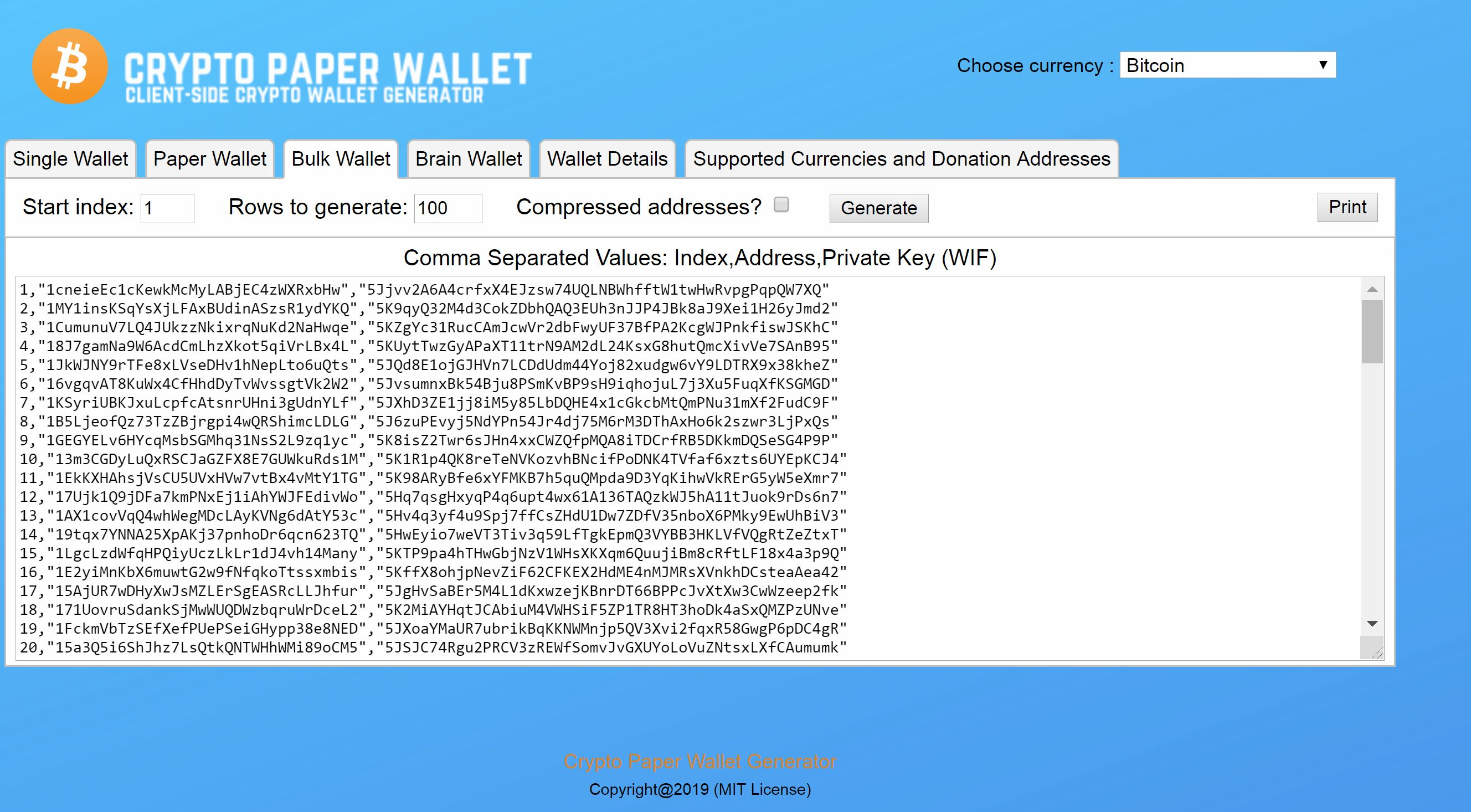 Cryptocurrency Paper Wallet Generator
