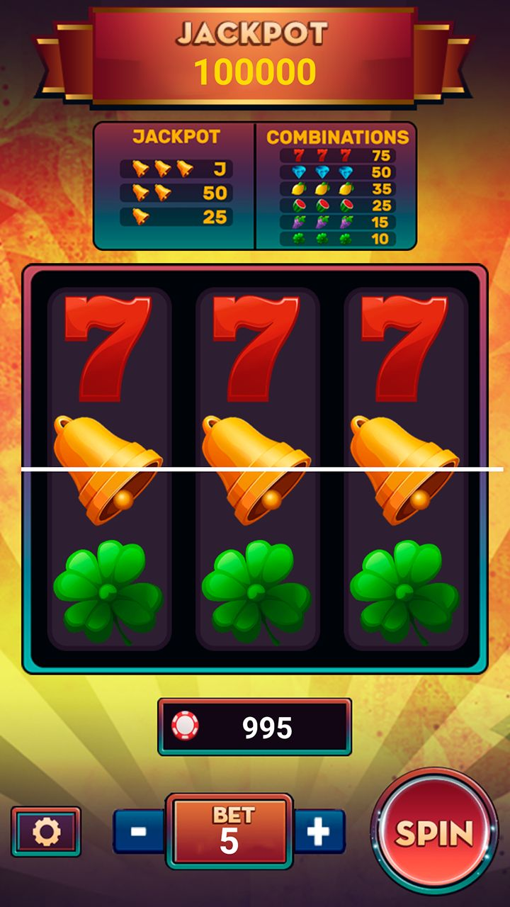 Slot Machine Deluxe with AdMob - Android Studio Screenshot 1