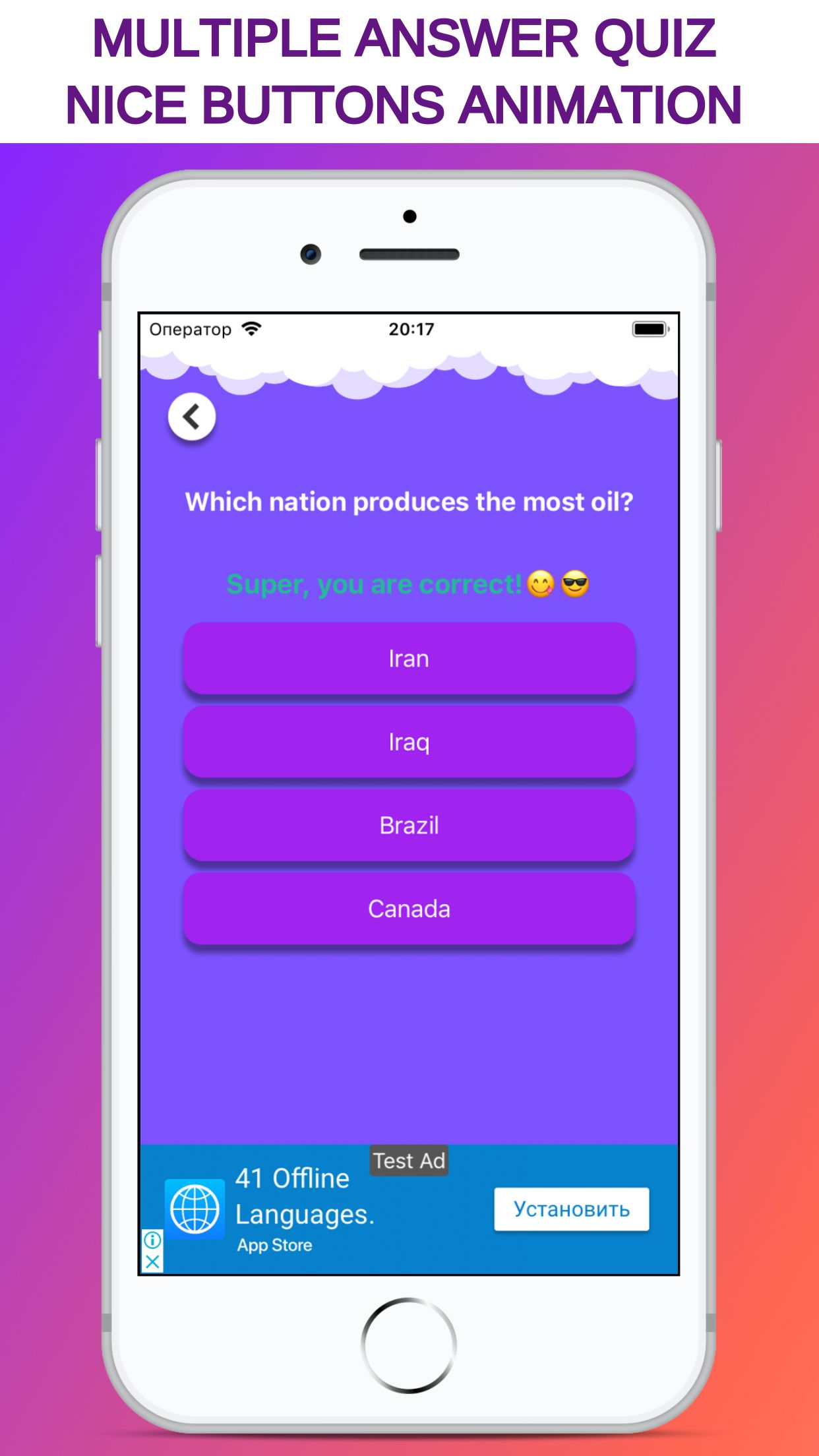 MyQuizz - iOS Multiple Answer Quiz Game Screenshot 6