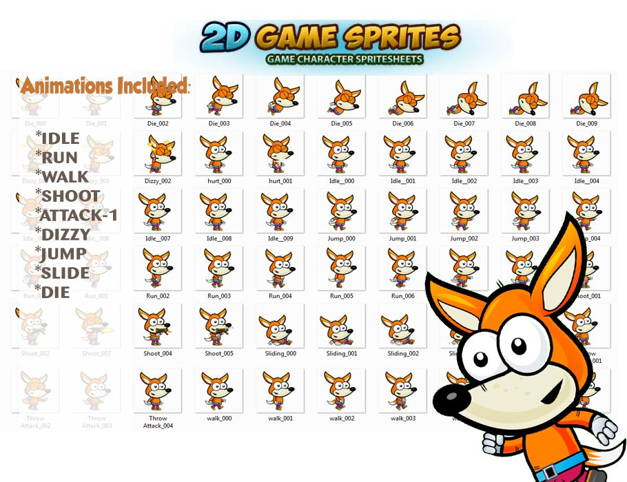 Fox 2D Game Character Sprites Screenshot 2