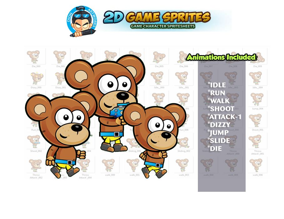 Bear 2D Game Character Sprites  Screenshot 1
