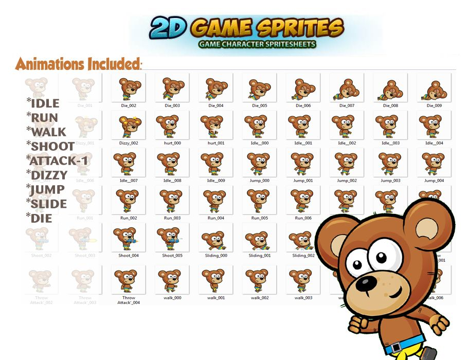 Bear 2D Game Character Sprites  Screenshot 2