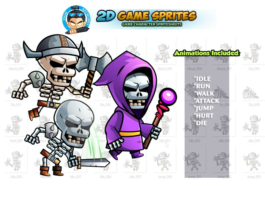 Skull warriors 2D Game Sprites Set Screenshot 1