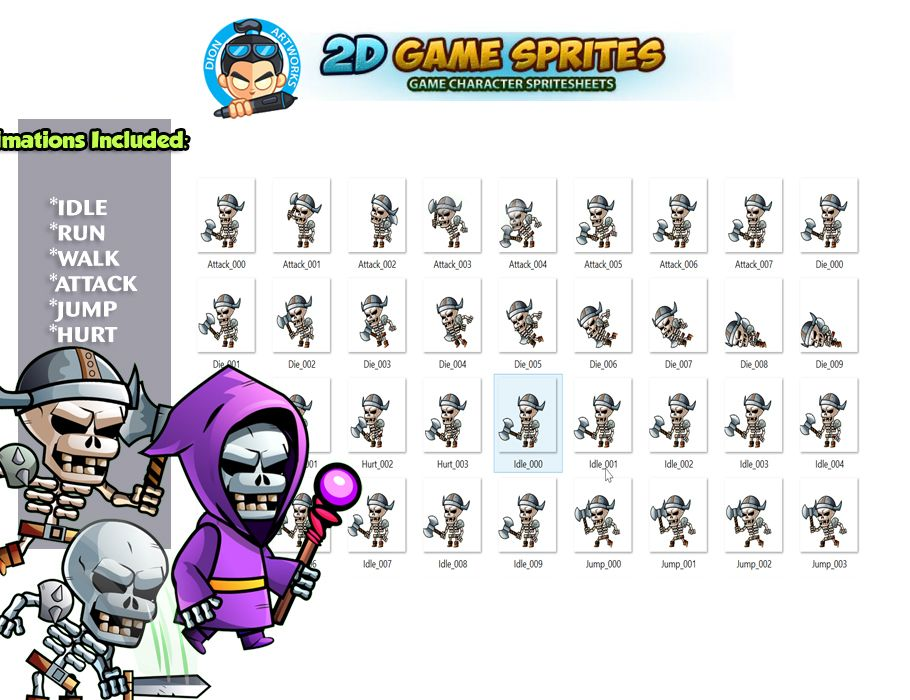 Skull warriors 2D Game Sprites Set Screenshot 2