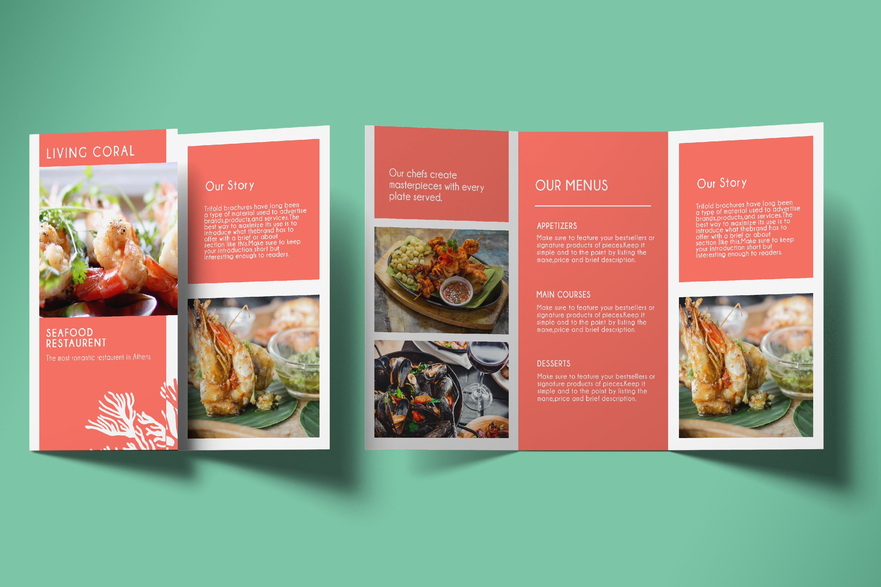 Tri-Fold Restaurent Promotion Brochure -Template Screenshot 5