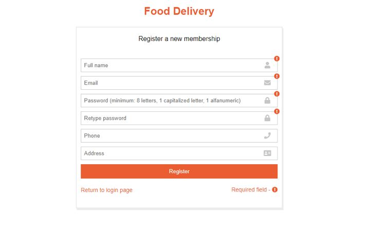 Food Delivery Admin Panel - Java CMS Screenshot 1
