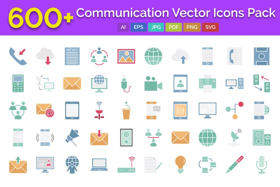 600 Communication Vector Icons Pack Screenshot 1