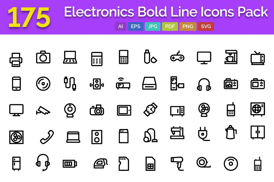 175 Electronics Bold Line Icons Pack Screenshot 1