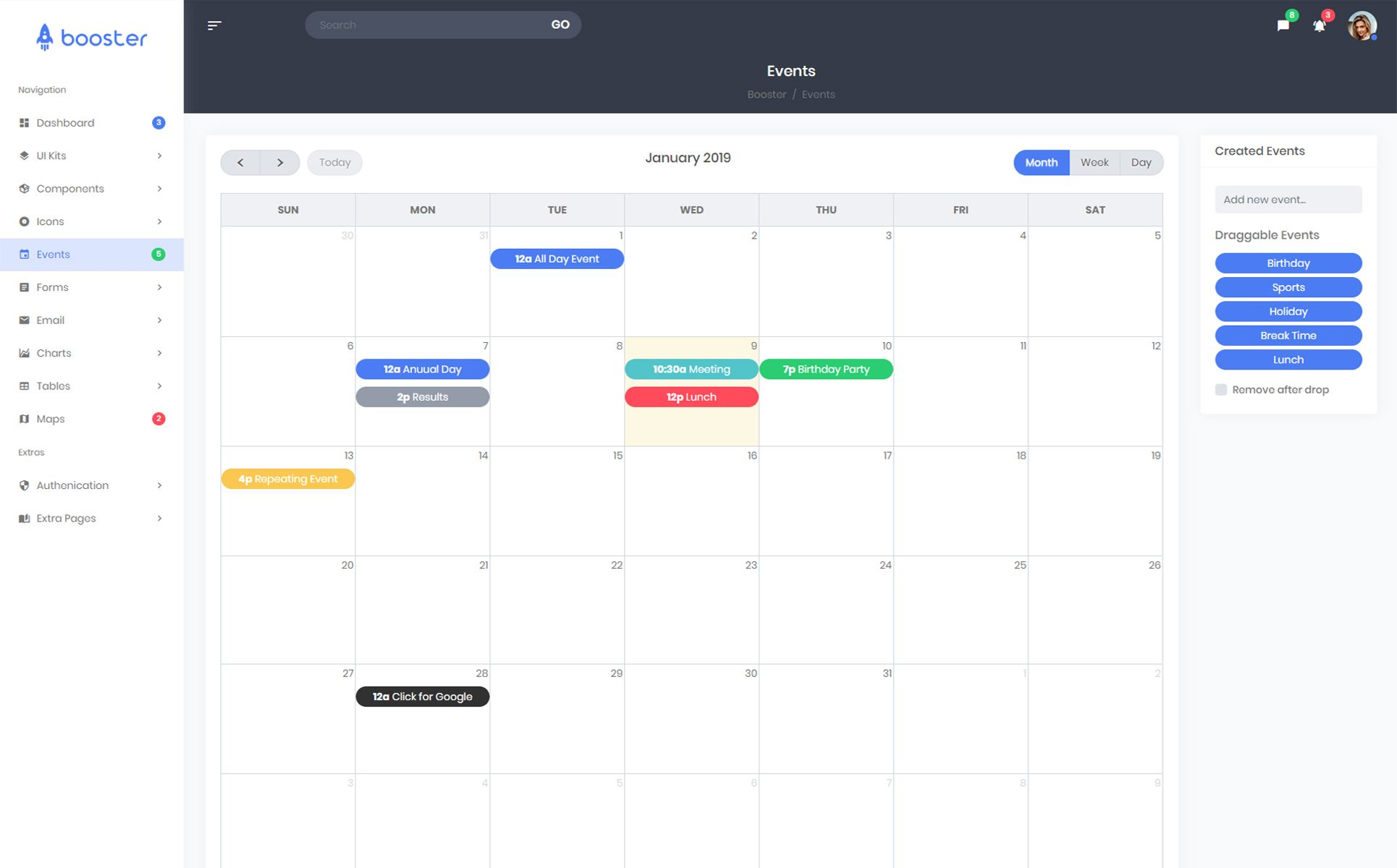 Booster - Bootstrap 4 Admin Dashboard