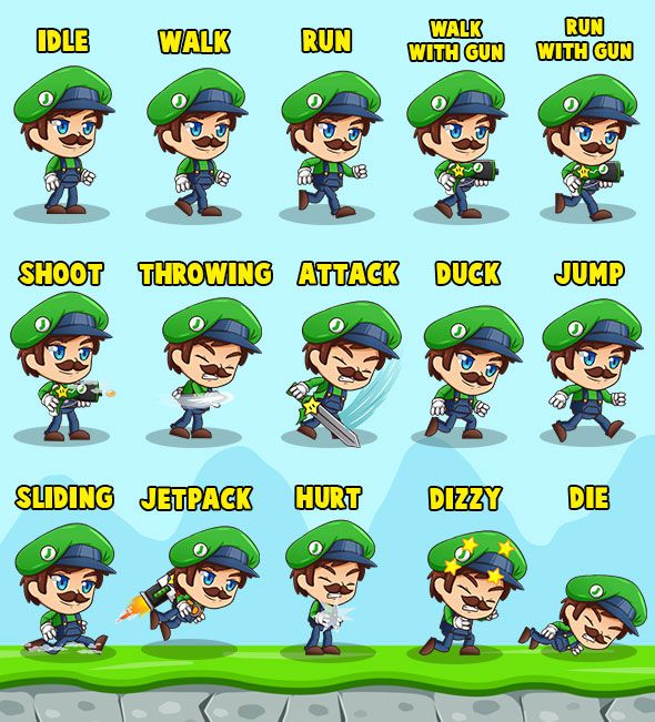 Super Johnson - 2D Game Character Sprites