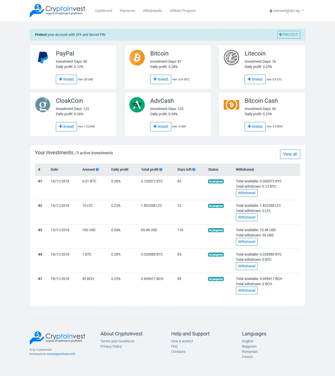 CryptoInvest - Crypto Investment Platform Script Screenshot 1
