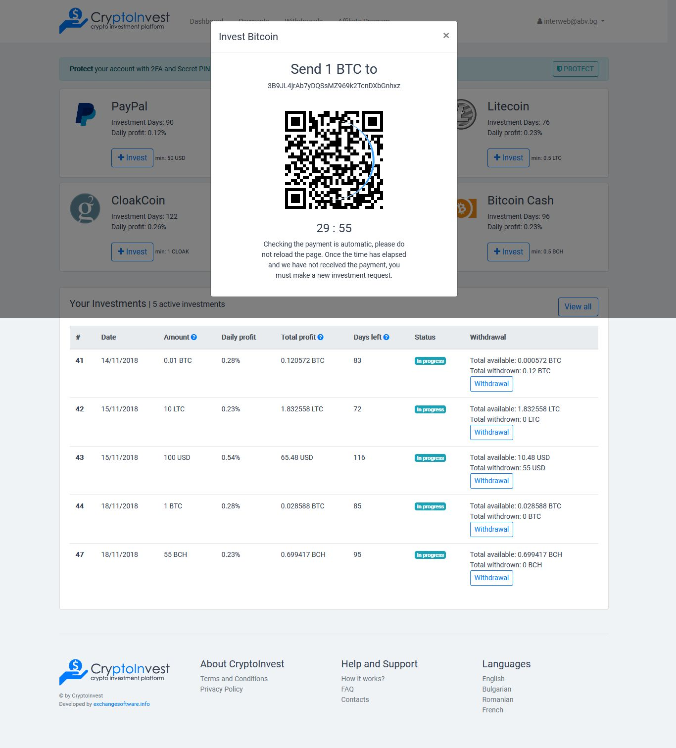 CryptoInvest - Crypto Investment Platform Script Screenshot 3