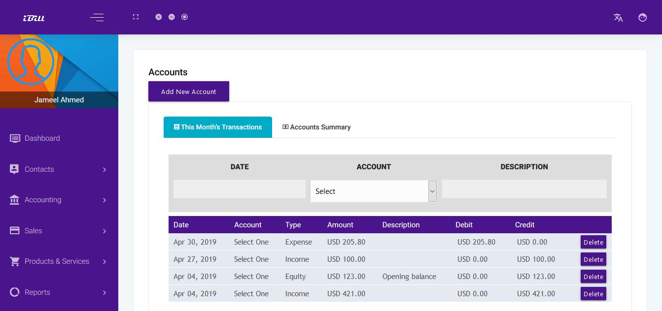 iBill - invoicing And Accounting CRM Software Screenshot 1