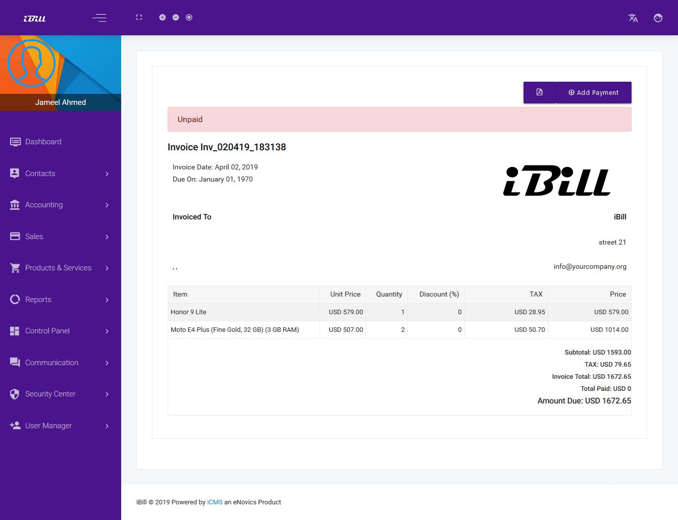 iBill - invoicing And Accounting CRM Software Screenshot 11