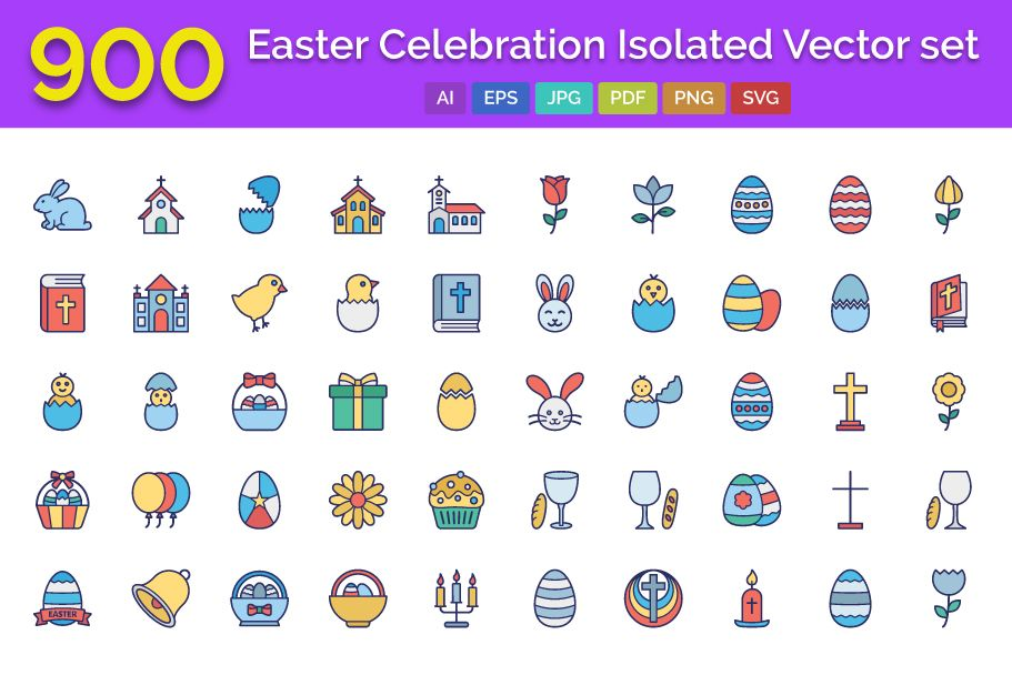 900 Easter Celebration Isolated Vector set Screenshot 1