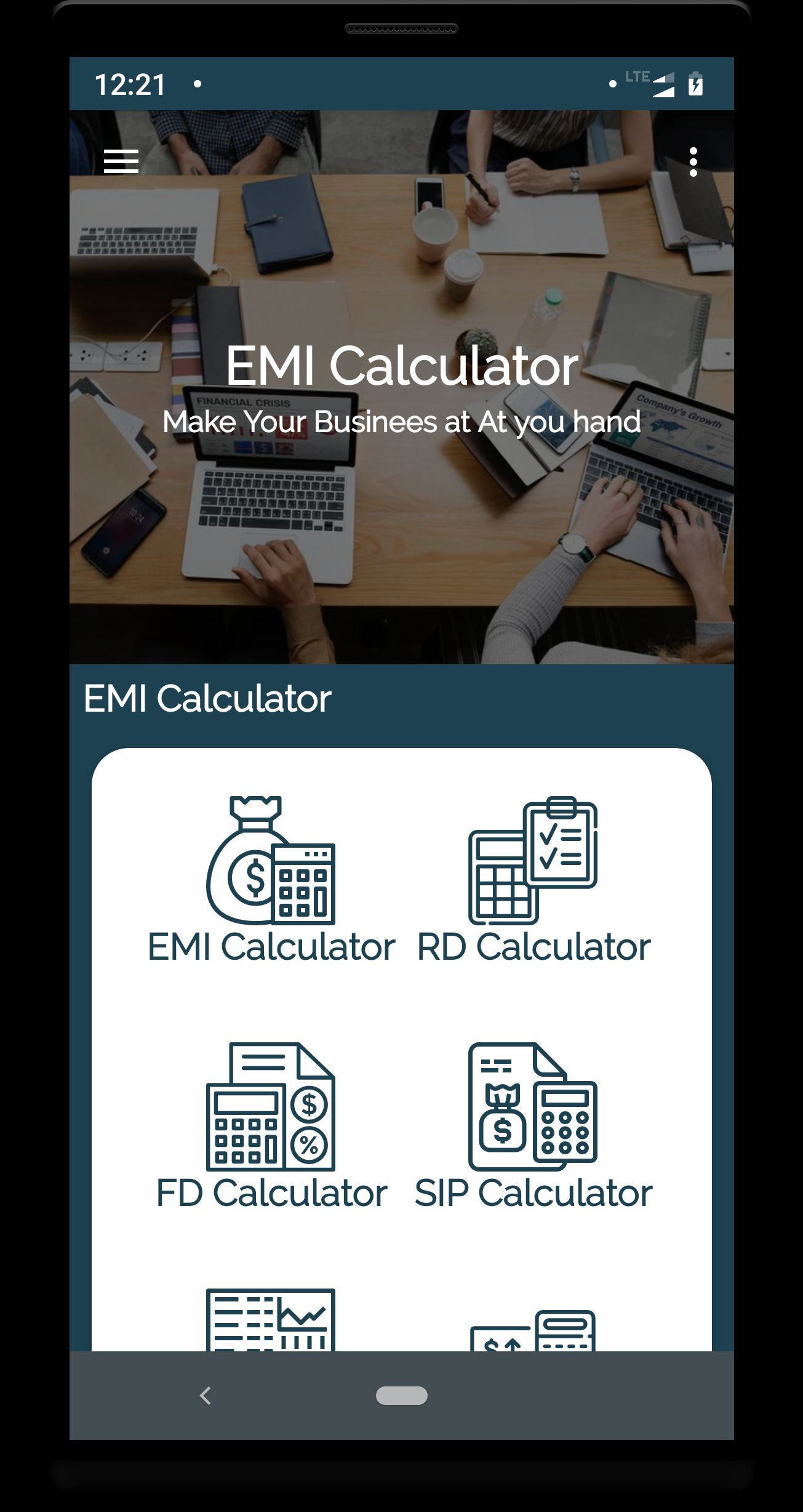 Emi Calculator - Android App Source Code Screenshot 3